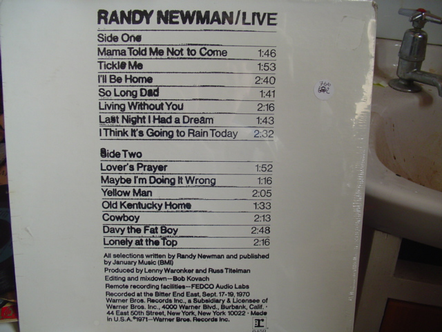 RANDY NEWMANN - LIVE - REPRISE 1971 - SEALED - 766