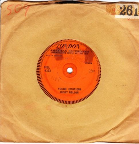 Ricky Nelson - Young Emotions - London Demo One Sided VG+++ 4116