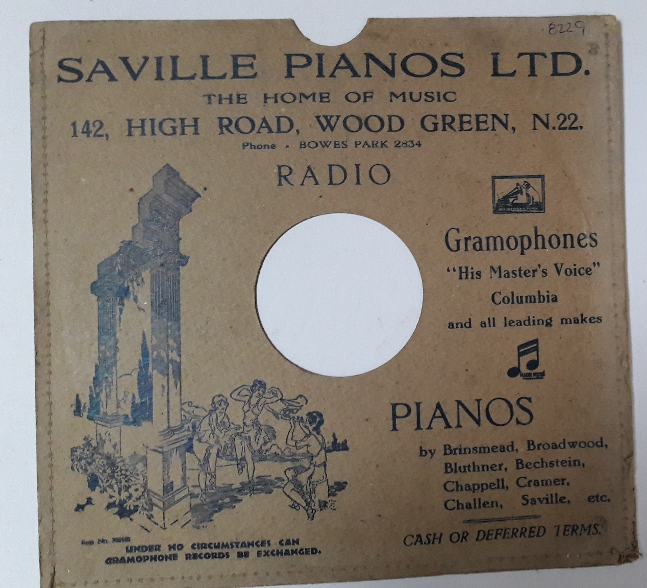 Saville Gramophone Store ,142 High Road , Wood Green N.22 {3