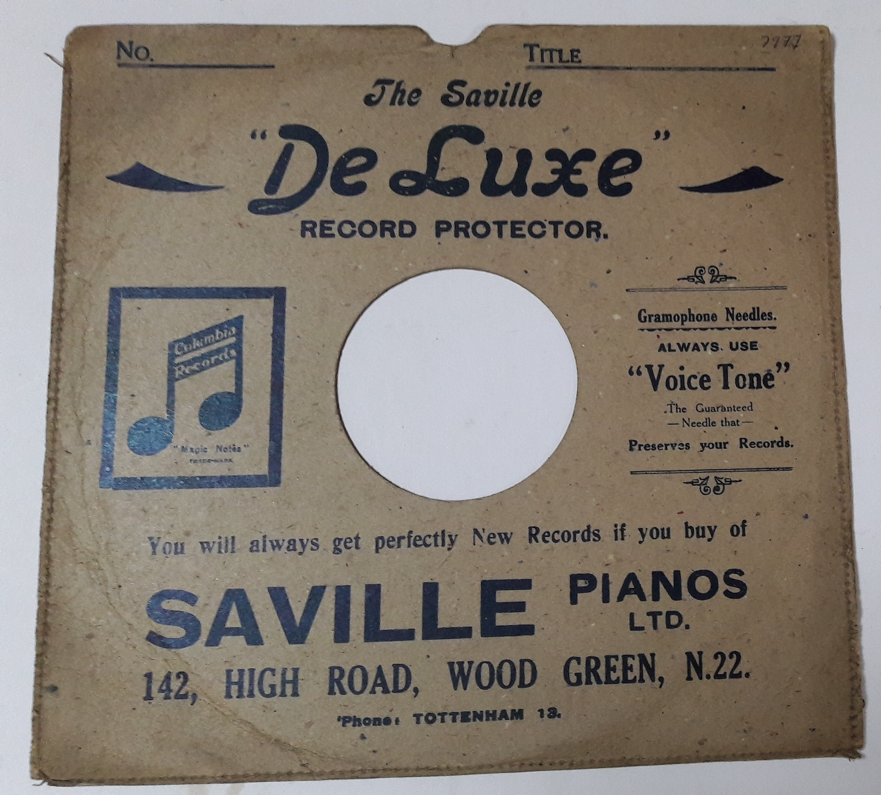 Saville Gramophone Store ,142 High Road , Wood Green N.22 {2