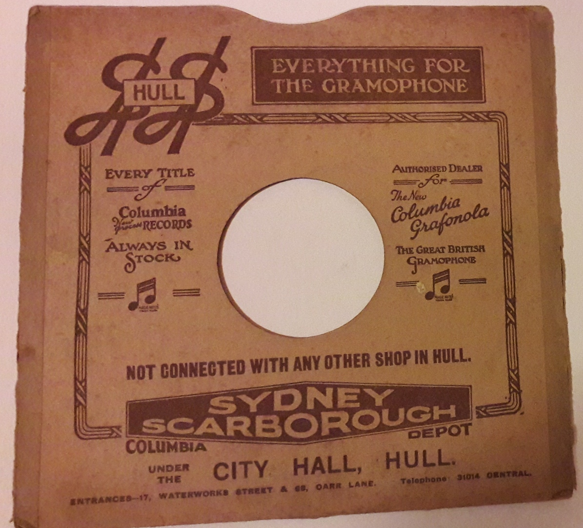Scarborough Sydney. Gramophone Store . City Hall Hull