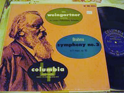 BRAHMS - SYMPH No 3 - WEINGARTNER - COLUMBIA ML