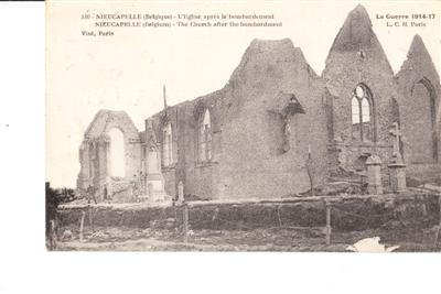 NIEUCAPALLE CHURCH AFTER BOMBING - BELGIUM
