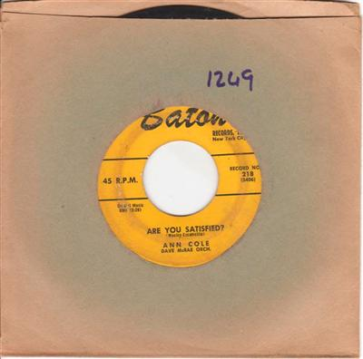 ANN COLE - ARE YOU SATISFIED - BATON { 1249