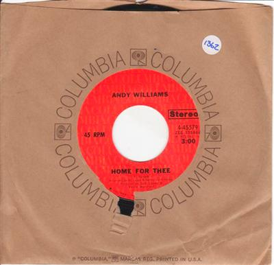 ANDY WILLIAMS - HOME FOR THEE - COLUMBIA 1362