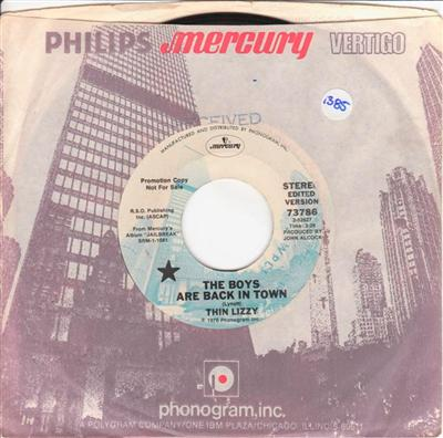 THIN LIZZY - BOYS BACK IN TOWN - MERCURY PROMO 1385