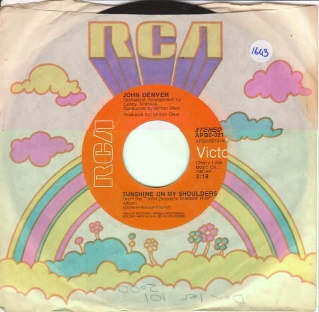 JOHN DENVER - SUNSHINE ON SHOULDER - RCA 0213 { 1643