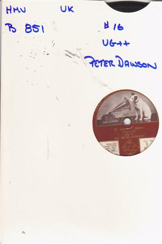 PETER DAWSON - O MISTRESS MINE - HMV 1576
