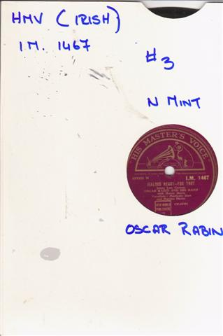 OSCAR RABIN - JEALOUS HEART - IRISH HMV 2117