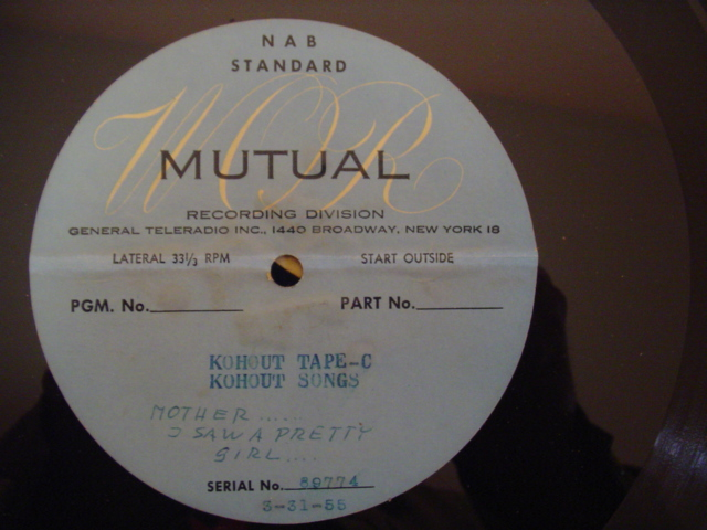 KOHOUT - MOTHER I SAW A PRETTY GIRL - ACETATE 1955