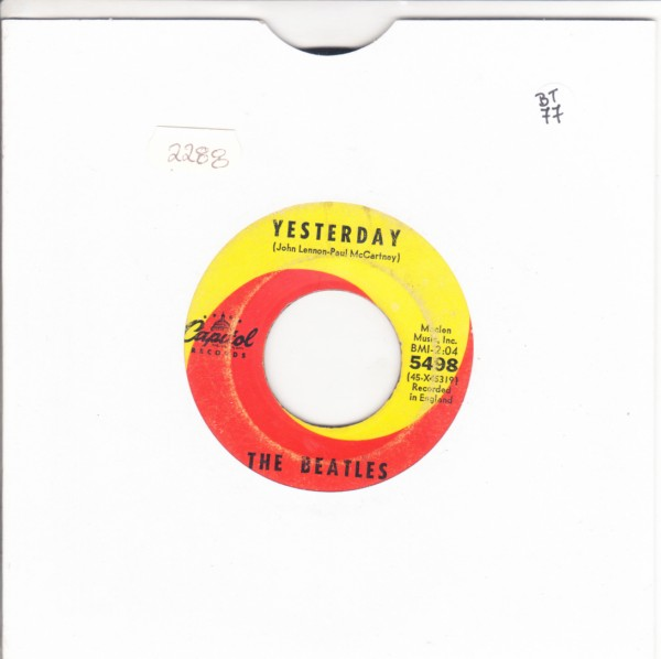 THE BEATLES - YESTERDAY - CAPITOL 5498 - 45 RPM 2288