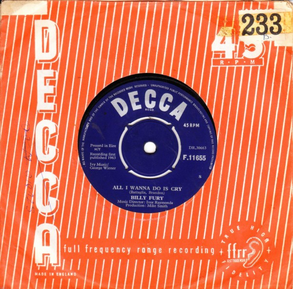 Billy Fury - All I want to do is - Decca Irish pressing