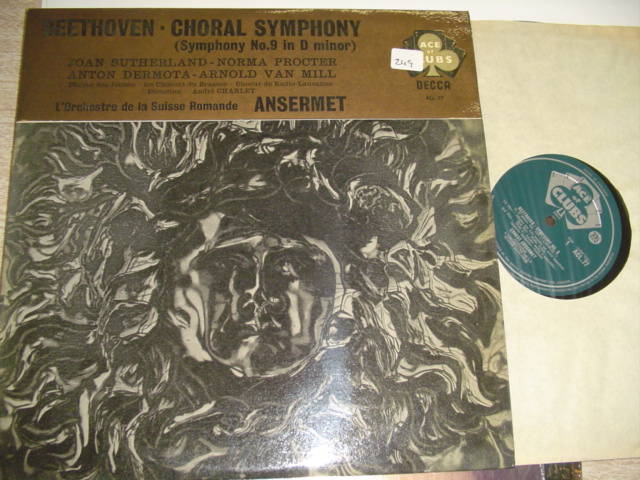 BEETHOVEN - SYMPHONY No 9 - ANSERMET - ACE CLUBS { R 249