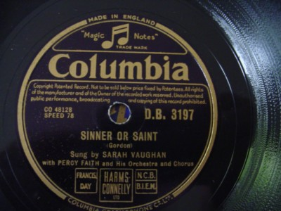 SARAH VAUGHAN - SINNER SAINT - COLUMBIA DB 3197 { 1212