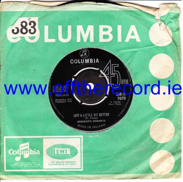 Herman's Hermits - Just a little better - Columbia Irish 3476