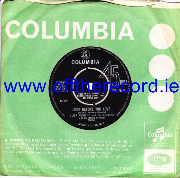 Cliff Richard - Look before you Love - Columbia UK 3494
