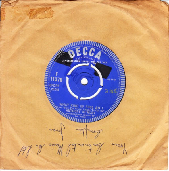 Anthony Newley - What kind of fool am I - Decca Demo 3861