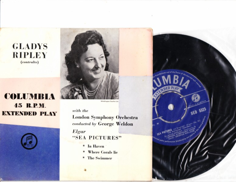 GLADYS RIPLEY - Elgar Sea Pictures - COLUMBIA SED 5525 EP