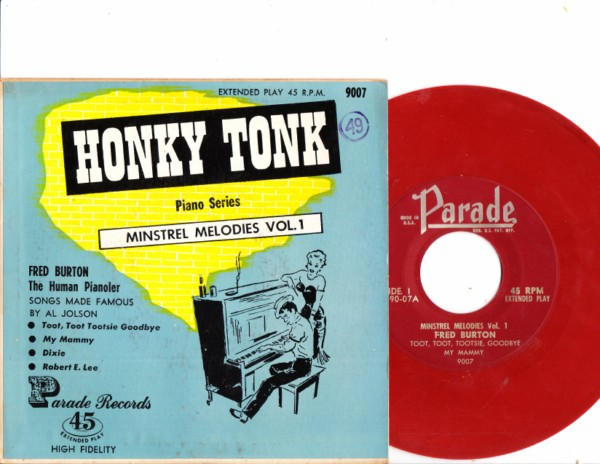 Fred Burton - Honky Tonk Piano - Parade Records - Red Vinyl