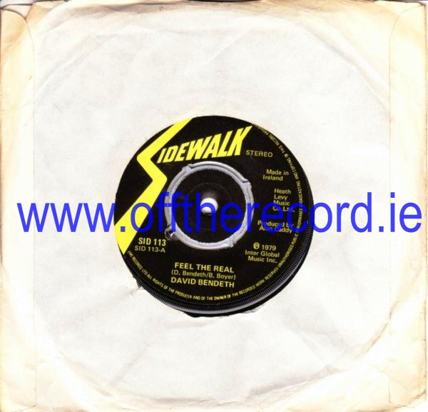 David Bendeth - Feel The Real - Sidewalk Irish Pressing 1979