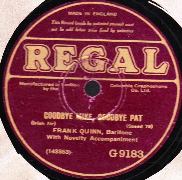 FRANK QUINN - REGAL 78 RPM BARITONE