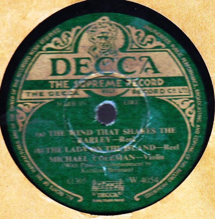 Michael Coleman - Wind that shakes Barley - Decca W.4054