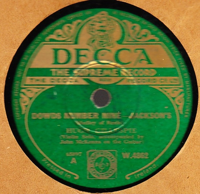 Hugh Gillespie - Jacksons Favourite - Decca W.4862 Irish