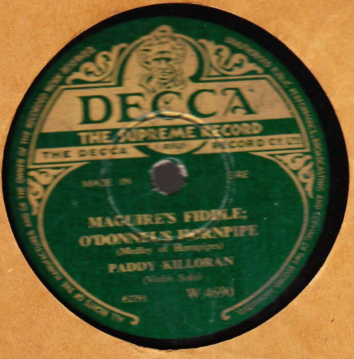 Paddy Killoran - Maguires Fiddle - Decca W. 4690 Irish