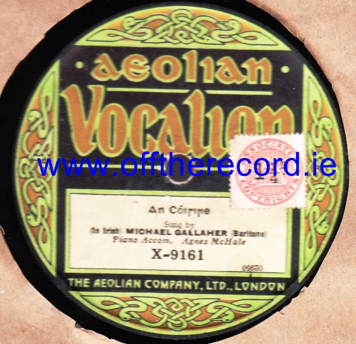 Michael Gallaher - Una Ban - Aeolian Vocalion X 9161 UK