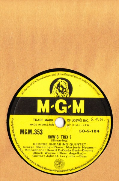 George Shearing Quintet - How's Trix ? - M.G.M. UK