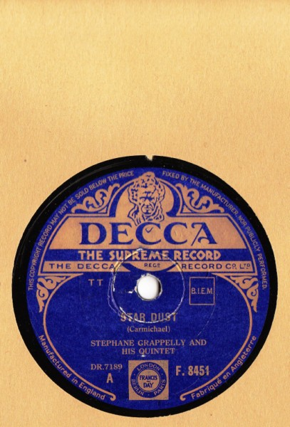Stephane Grappelly & Quintet - Star Dust - Decca UK