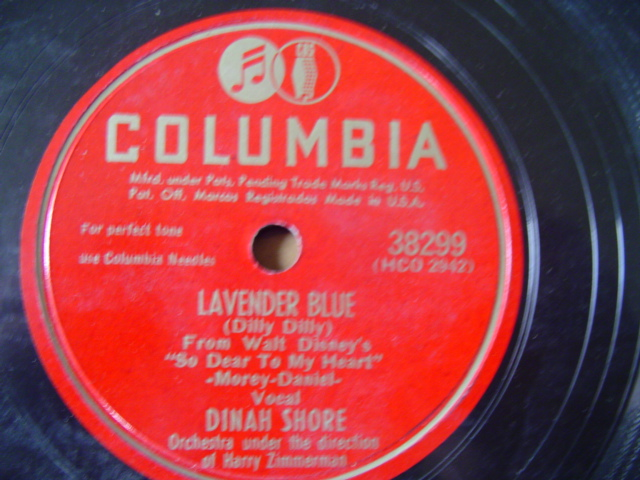 DINAH SHORE - LAVENDER BLUE - COLUMBIA 38299