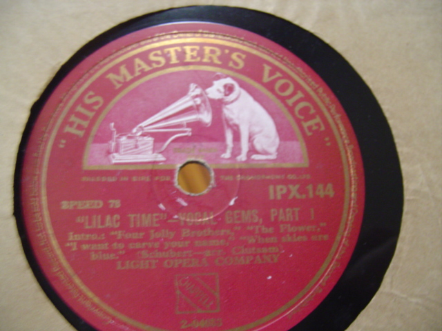 SCHUBERT - LILAC TIME - VOCAL GEMS - HMV IRISH