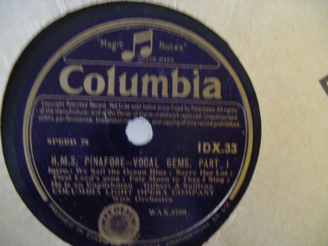 GILBERT & SULLIVAN - HMS PINAFORE - VOCAL GEMS - COLUMBIA
