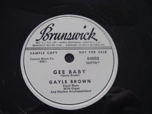 GAYLE BROWN - GEE BABY - BRUNSWICK PROMO 78 RPM