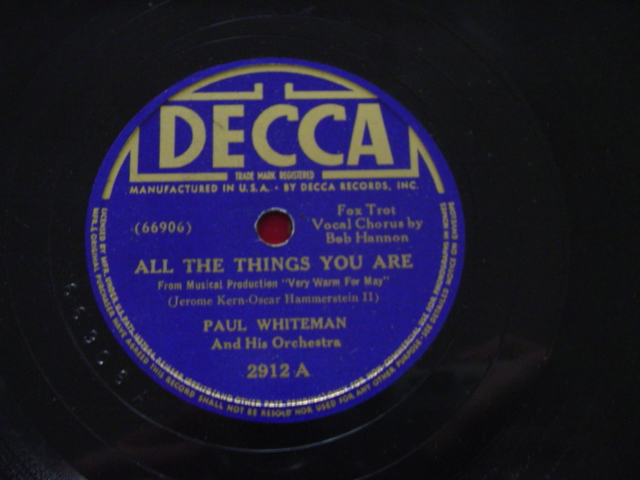 PAUL WHITEMAN - ALL THINGS YOU ARE - DECCA