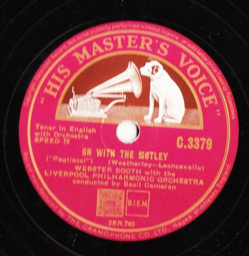 Webster Booth - On with the Motley - HMV C.3379
