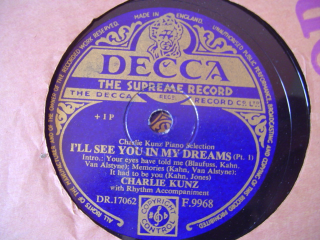CHARLIE KUNZ - ILL SEE YOU IN DREAMS - DECCA