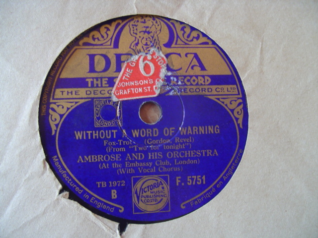 AMBROSE & ORCHESTRA - WITHOUT WARNING - DECCA