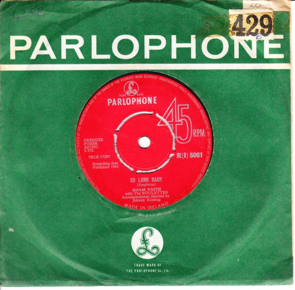 Adam Faith - So long Baby - Parlophone Irish 4393