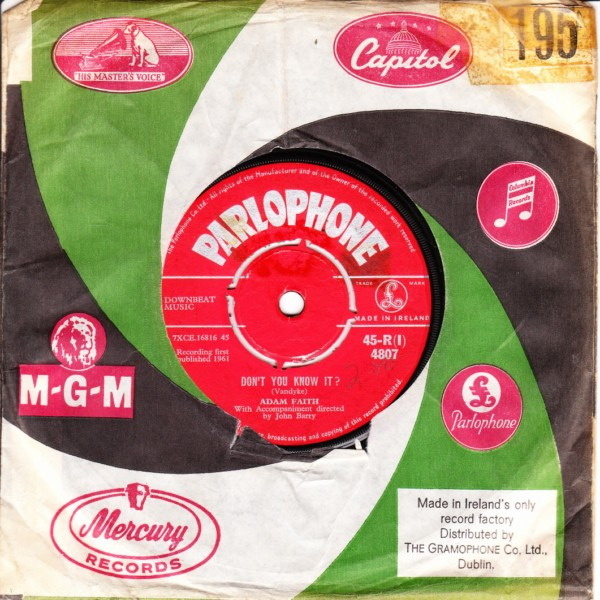 Adam Faith - My last wish - Parlophone Irish 4397