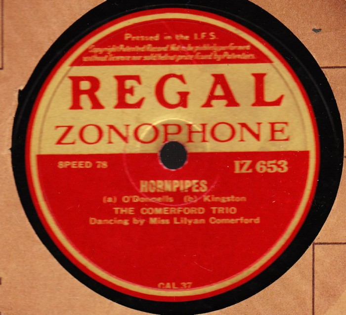 The Comerford Trio - Reels & Hornpipes - Regal IZ 653