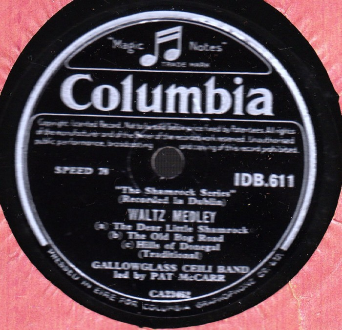 Gallowglass Ceili Band - Waltz & Reels - Columbia IDB 611