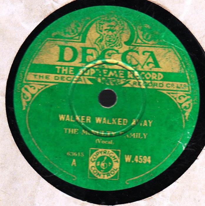 The McNulty Family - Walker walked away - Decca W.4594