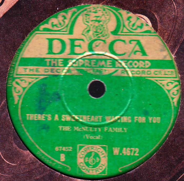 The McNulty Family - In Old Ballymore - Decca W.4672