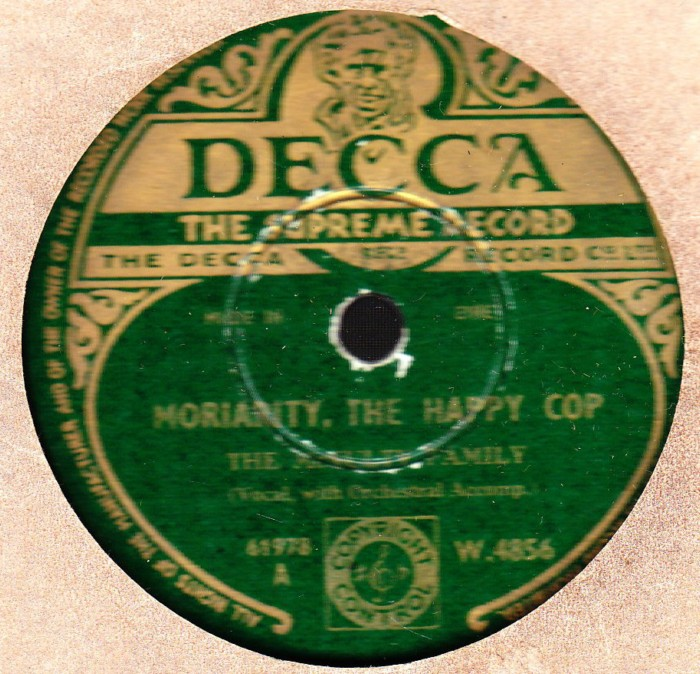 The McNulty Family - Moriarty the Happy Cop - Decca W.4856