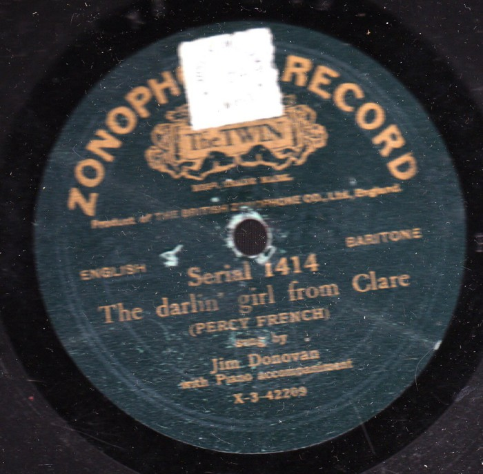 Jim Donovan - Darling Girl From Clare - Zonophone 1414