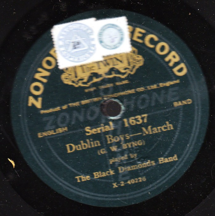 Black Diamonds Band - Dublin March - Zonophone 1637
