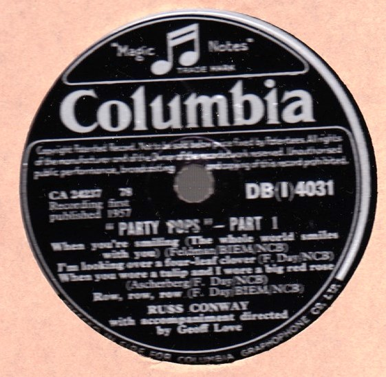 Russ Conway - Party Pops - Columbia DBI 4031 Irish