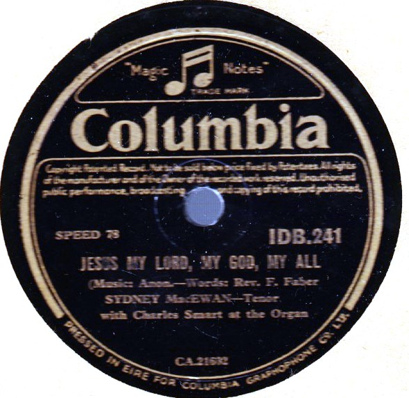 SYDNEY MacEWAN - JESUS MY LORD - COLUMBIA IRISH PRESS